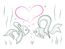 Couple in love fairy goldfish. Sketch of couple in love fairy goldfish Stock Image