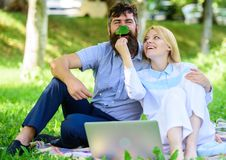 Couple in love or family work freelance. Modern online business. How to balance freelance and family life. Family spend stock photography