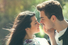 Couple love feeling. Loving harmony. First kiss. A young men and a young woman. Love deep and bright feelings, the relationship between men and woman. Attitude Stock Photography