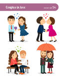 Couple in love. First date. And kissing, presenting flowers and walking together. Vector illustration Royalty Free Stock Photo