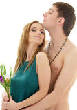 Couple in love with flowers Stock Images