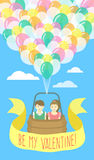 Couple in love flying on balloons Stock Images