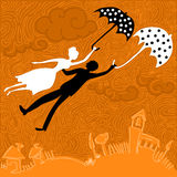 Couple in love flying with umbrellas Stock Images