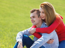 Couple in love. Free Happy Couple Enjoying Nature. Stock Image