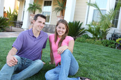 Couple in Love in Front of Home Royalty Free Stock Images
