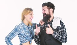 Couple in love getting ready for barbecue. Picnic and barbecue. Man bearded hipster and girl ready for barbecue white stock image