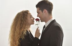 Couple love.Give roses instead of the hear. Couple love. Happy men and girl .Young business lover Give roses instead of the heart Royalty Free Stock Photo