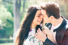 Couple love good feeling. Loving harmony. First kiss. Stock Image