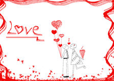 Couple in love, hand drawn design idea of couple in love(male an Royalty Free Stock Photo