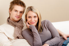 Couple in love - happy relax at home Stock Photography