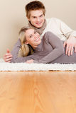 Couple in love - happy relax at home Stock Images