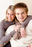 Couple in love - happy relax at home together Stock Photos