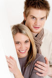 Couple in love - happy relax at home together Stock Image