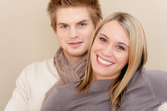 Couple in love - happy relax at home together Stock Images