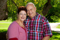 Couple In Love. A happy senior couple poses for the camera, holding each other, smiling Royalty Free Stock Photo
