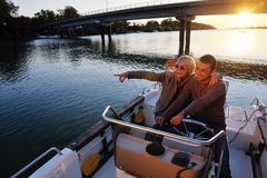 Couple in love  have romantic time on boat Stock Photography