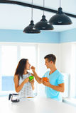 Couple in love having breakfast Royalty Free Stock Images