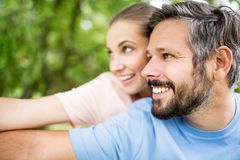 Couple having fun together. Couple in love having fun together in their summer holidays Stock Photo