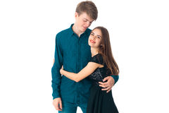 Couple in love having fun. Young elegant couple in love having fun in studio on white background Royalty Free Stock Photo