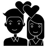 Couple in love - hearts icon, vector illustration, black sign on isolated background. Couple in love - hearts icon, illustration, vector sign on isolated Stock Photography