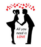Couple in love and hearts Stock Images