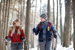Couple in love hiking on mountain Royalty Free Stock Image