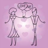 Couple in love holding balloons hearts. Couple in love holding hearts balloons on purple background with hearts Stock Images