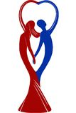 Couple in love holding hands. Couple in love shaping a heart with their hands - illustration (red woman and blue man Stock Photos
