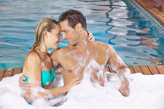 Couple in love in holiday spa Stock Photography