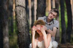 Couple in love hug in forest Royalty Free Stock Images