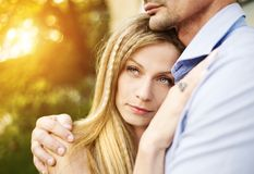 Couple in love hugging Stock Image