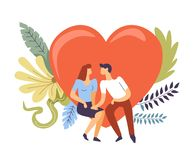 Couple in love hugging and kissing, heart and flowers. Vector. Romantic people spending time together, female and male happy pastime. Relationship building royalty free illustration