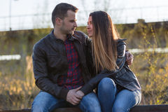 Couple in love hugging. Stock Photo