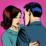 Couple in love hugging. Pop art retro style royalty free illustration