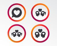 Couple love icon. Lesbian and Gay lovers signs. Stock Images