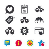 Couple love icon. Lesbian and Gay lovers signs. Romantic homosexual relationships. Speech bubble with heart symbol. Browser window, Report and Service signs Royalty Free Stock Photos