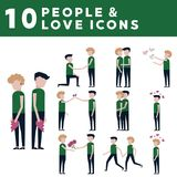 Couple in love icons. 10 icons in a flat style Stock Photography