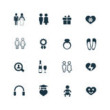 Couple, love icons set Royalty Free Stock Photos