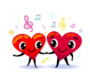 Couple in love idea. Two funny cute cartoon hearts dancing, holding their hands. Surrounded by design elements like treble clef, music notes. Happy valentines Stock Images