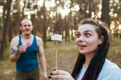 Couple love joke party fun nature picnic concept. Happy together. Travel lifestyle Stock Image
