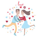 Couple in love kiss each other Royalty Free Stock Photos