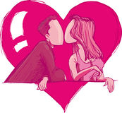 Couple in love kissing Stock Image