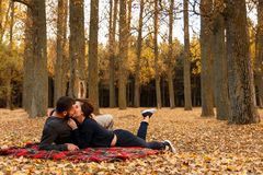 Couple in love kissing on a blanket. In autumn park Royalty Free Stock Photo