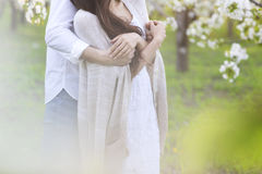 Couple in love kissing and hugging in spring park Royalty Free Stock Photography