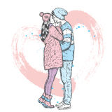 Couple in love. Kissing man and woman in winter clothes. Vector illustration for a card or poster. Royalty Free Stock Photo