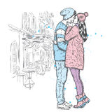 Couple in love. Kissing man and woman in winter clothes. Vector illustration for a card or poster. Stock Photos