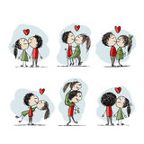 Couple in love kissing, valentine sketch for your Stock Photography