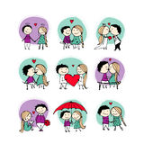 Couple in love kissing, valentine sketch for your design Royalty Free Stock Photo