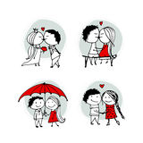 Couple in love kissing, valentine sketch for your design Royalty Free Stock Image