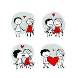 Couple in love kissing, valentine sketch for your design Royalty Free Stock Photography